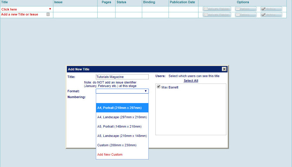 Step 5a - Select page format