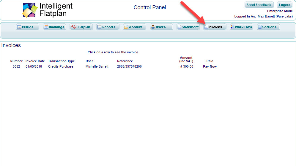 Walkaround Control Panel 8 Invoices